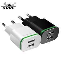 Top qualité de l'UE US Plug lumineux 2 ports USB LED Lumière Chargeur 5V 2A Voyage Accueil adaptateur mural téléphone mobile Micro Charging