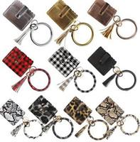 PU Leather Bangle Bracelet Card Bag Wallet Keychain Wristlet Keyring Leopard handbag Leather Bracelet Credit Card Holder With Tassel EEA1665