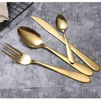 4pcs / set Altın Çatal Kaşık Çatal Bıçak Çay Kaşığı Mat Altın Paslanmaz Çelik Gıda Gümüş Sofra Takımı RRA2833-2