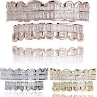 Yeni Baget Set Diş Grillz Üst Alt Rose Gold Gümüş Renk Izgaralar Diş Ağız Hip Hop Moda Takı Rapçi Takı