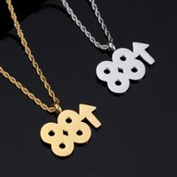 2019 Double 8 UP Necklace For Men Women Gold Color Stainless...