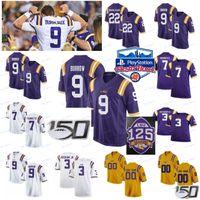 Personalizado New LSU Tigers BURREAUX Jersey 9 Joe Burrow 22 Clyde Edwards-Helaire Delpit Stingley Jr. 2020 Peach bacia 150º Branco Roxo Amarelo