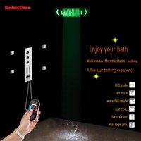 욕실 은폐 샤워 패널 온도 조절 믹서 수도꼭지 노즐 라이트 LED 천장 샤워 헤드 비 폭포 안개 마사지 제트