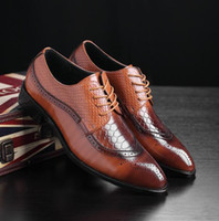 Leather Concise Men Business Pointy Dress Shoes Breathable F...