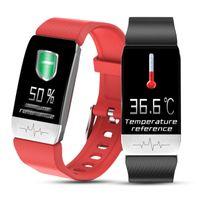 T1 스마트 시계 밴드와 온도 측정 ECG 심장 박동 혈압 모니터 일기 예보 음주 무료 배송으로 DHL 알림
