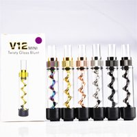 V12 mini Twisty Glass Blunt Kit Portable Pipe Tobacco Grinde...