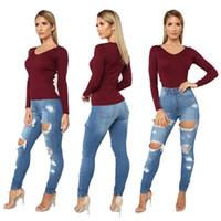2020 Mulheres magro rasgado Buraco Jeans Empurre Ladies Up Mid cintura Denim Pant Calça Casual Slim Fit longa feminina Calças frete grátis atualizados