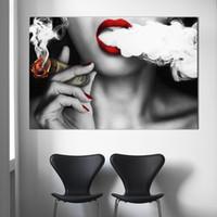 Art Mulher Poster com dinheiro parede Imagem impressão na lona No Frame Idea Pintura Creative Home Decoration Canvas