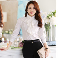 2019 New White Chiffon shirt with lotus leaf edge, lady'...