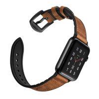 ZLIMSN bande de sport hybride pour Appl Watch vintage bande de cuir bracelet de remplacement Sweatproof classique série iwatch 4 3 44mm 42mm