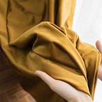 Licht Luxus-amerikanische dunkler Gold retro Samt Samt Verdunkelungsvorhang Wohnzimmer Schlafzimmer benutzerdefinierte Flanell Vorhänge