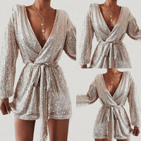 Sexy Frauen Playsuit Pailletten Langarm Bodycon Overall Female Body Solid Color Dame Jumpsuits Damenmode Partei Playsuit