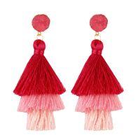 Bohemian 3 stratificato nappa lunghi pendenti orecchini multi-strato rosso blu giallo tessuto di seta goccia orecchino per le donne dichiarazione di nozze gioielli