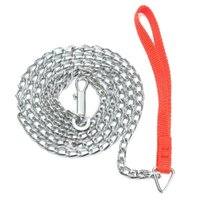Cadena 1.6m metal resistente Puppy Dog Walking plomo Correa Clip mango de color rojo