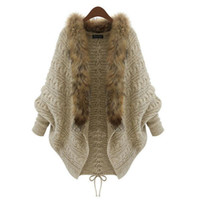 Women Cardigan Sweater Thick Femme Autumn Winter Batwing Sle...