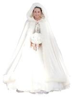 2019 Новая дешевая элегантная белая слоновая слоновая слоновая слоновая кость свадебная мыс зимой мех женщины куртка свадьба длина пола плащ длинные вечеринки свадебное пальто al03