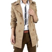 Hombres Británicos Slim Breasted Mens Long Trench Coat Cuello vuelto Trenchcoat Chaqueta de manga larga Trench Coat