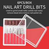 6PCS / Lot Fournitures Nail Art Forets électrique Dossier permanent Broyage Remplacement de la tête de sable polonais machine Tool Set manucure Kit