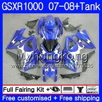 Kit + Tanque para SUZUKI GSX R1000 GSXR-1000 GSXR 1000 2007 2008 Llamas plateadas 301HM.41 GSX-R1000 07 08 Carrocería K7 GSXR1000 07 08 Carenados 7Gift
