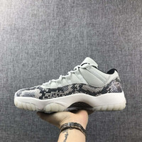 2019 New 11 Gray Snakeskin White Blue Low men basketball sho...