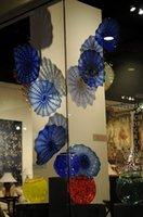 Отель Party Luxury Hand выдувное стекло висячие Планшеты Wall Искусство синий Цветные Чихули Стиль Цветочные настенные светильники