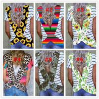 Frauen Backless T-Shirt Blumen-Blumen-gestreifter Leopard Kurzarm T-Shirt Sport-beiläufig Top Quergurt Bademode Bikini-Vertuschung NEW E31204