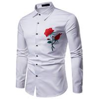 2020 luxuosas dos homens cobre a camisa Vestido Casual Slim Fit camisa Rose Red bordada flor Floral manga comprida masculina Eu Tamanho