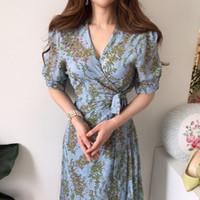 짧은 소매 한국어 여름 우아한 드레스 2020 새로운 인쇄 꽃 무늬 레이스 여성 미디 드레스 여성 파티 빈티지 A 라인 아가씨 최대