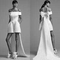 Designer Mais Novos Jumpsuits Curtos Noite Vestidos Formal Alta Baixa Cetim Back Bow Barato Formal Formal Vestido Vestidos Robe de Soiree ED1334