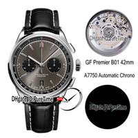 GF Premier B01 ETA A7750 Otomatik Chronograph Erkek İzle 42mm Çelik Gri Siyah Arama AB0118221B1P1 Siyah Deri En Iyi Baskı Yeni Puretime