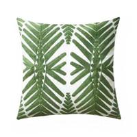 Brand New Geometric Stickerei Green Tree Kissenbezug Geschenk Home Sofa Kissenbezug Leinwand Dekorative 45x45 cm Verkauf durch Stück Drop Shipping