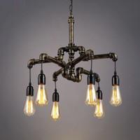 LED Industrial Retro Pendelleuchten Kreative Wasserleitung Hängende Beleuchtung Restaurant Bar Hängende Lampen Eisenkörper