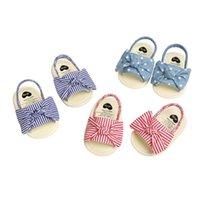 Premiers Walkers Pudcoco Né Baby Baby Girls Princesse Chaussures Bowknot Towdler Sandales d'été coton anti-glissement 0-18m
