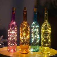 Cork em forma de rolha de garrafa de vinho de vidro Luz Bottle Lamp 2M 20 LED de fio de cobre Luzes Cordas da festa de casamento Home Decor presente BC BH0944