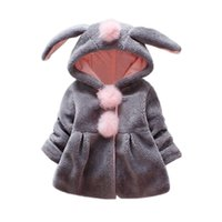 Children Kids Girls Venonat Rabbit Ears Hooded Keep Warm Coa...