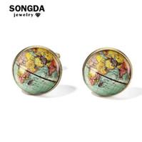 Songda Урожай Земли Карта мира Запонки Globe Planet Art Фото Хрусталь купола рубашки Запонки для мужчин персонализированного Gemelos
