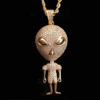 Neue Hip Hop Schmuck Alien Anhänger Halskette Gold Farbe Bling Kubikzircon Männer Frauen Halskette mit Seil Kette für Geschenk