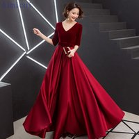 Red Evening Dress V- Neck A- Line Floor Length Velour Custom M...