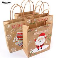 Weihnachtsgeschenk Taschen Sankt Säcke Kraft-Papierbeutel-Kind-Partei-Bevorzugungen Box Weihnachtsdekorationen für Haus Neujahr 2019 navidad