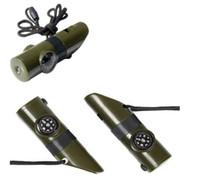 7 В 1 Многофункциональный мини компас Свисток шеи ремень свистит Термометр для выживания Открытый кемпинга Портативный карманный инструмент