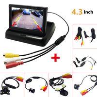 1 مجموعة طوي 4.3 بوصة TFT LCD رصد سيارة ميني مع كاميرا للرؤية الخلفية النسخ الاحتياطي للسيارات وقوف السيارات عكس نظام # 1535