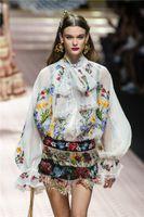2020 neue Entwurfsfrauen Schnürung Bogen Kragen Luxuxstickerei Blumen Laterne lange Ärmel Perspektive Runway Blusenhemd S M L XL