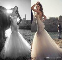 Impressionante Julie Vino Sereia vestidos de casamento Sexy Spaghetti Backless Lace vestido de casamento até o chão Praia vestidos de noiva