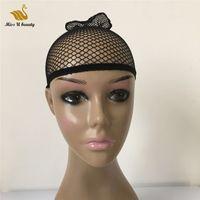 두 끝 오픈 fishnet 가발 모자 머리카락 그물 검은 금발 컬러 직조 모자 가발을 착용 하 게 니 슈 나일론 meshcap