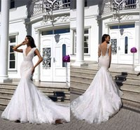 Sexy Deep V Neck Lace Appliqued Mermaid Wedding Dress Luxury...