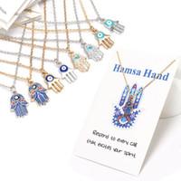 Mulheres Designer colar de prata banhado a ouro cadeia encantos clássico do olho mau Hamsa mão pingente jóias dom