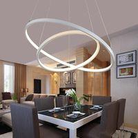 Modern Kolye Işıkları Oturma Odası Yemek Odası için 3/2/1 Daire Yüzükler Akrilik Alüminyum Vücut Led Aydınlatma Tavan Lambası Armatürleri