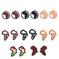 Yeni Afrika Harita Hollowed Out Ahşap Küpe Geldi Karışık Stil Dangle Kulak Kancalı kolye Küpe Hip-Hop Bayan Takı Toptan