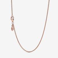 Neue Ankunft 925 Sterling Silber Rose Gold Klassische Kabelkette Halskette mit Hummerverschluss Fit Europäischen Anhänger und Charms Fine Schmuck Geschenk
