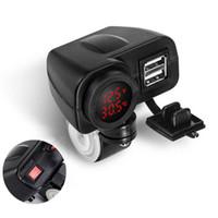 디지털 방식으로 전압계 + 온도계를 가진 12V 빨간 LEDMotorcycle USB 충전기 2.1A + 2.1A : 차.